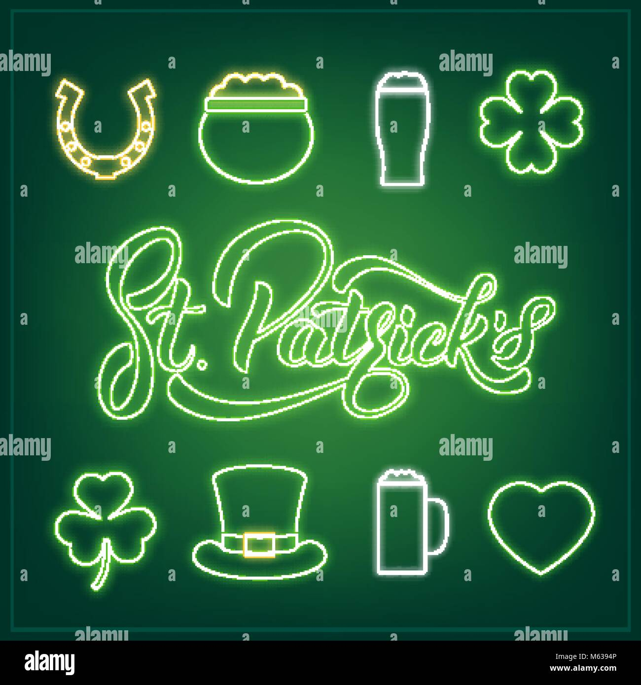 set of neon icons and st patricks lettering patrick day