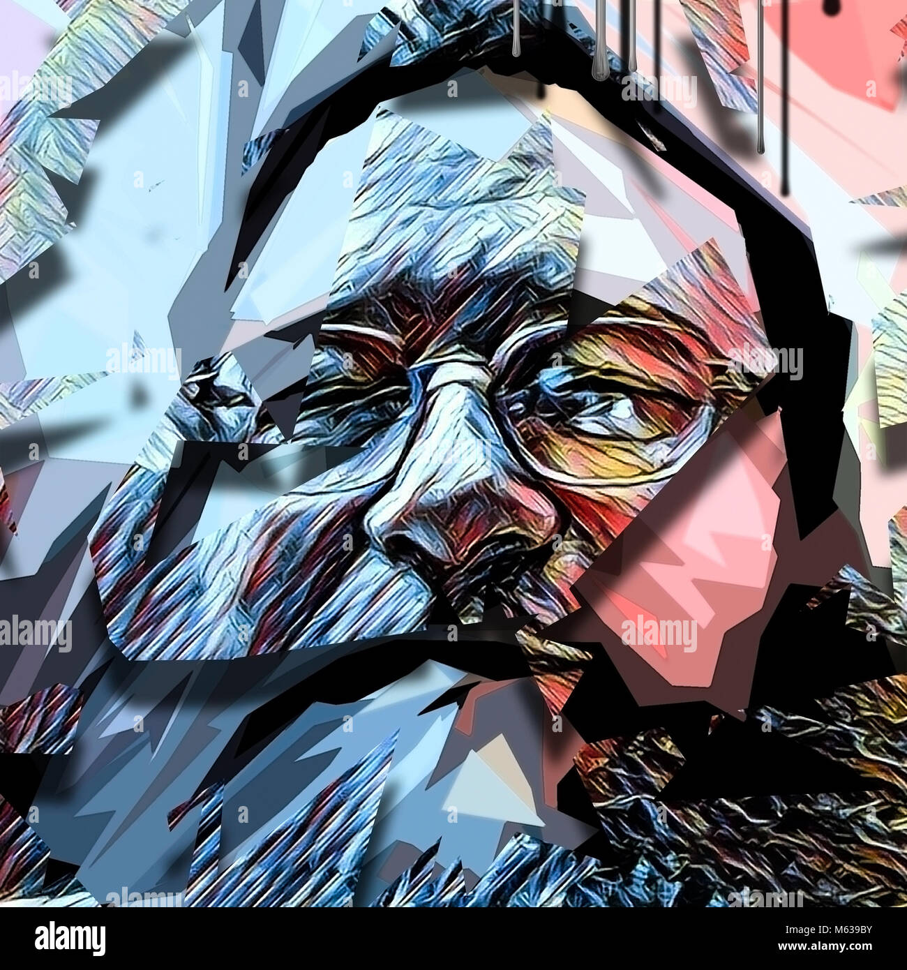 Abstract Painting Old Man S Face In Glasses Stock Photo