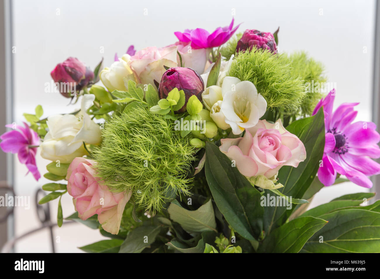 Beautiful bouquet of spring flowers pink white and purple tones beautiful bouquet of spring flowers pink white and purple tones roses anemones freesias carnations in vase mothers birthday valentines wome izmirmasajfo