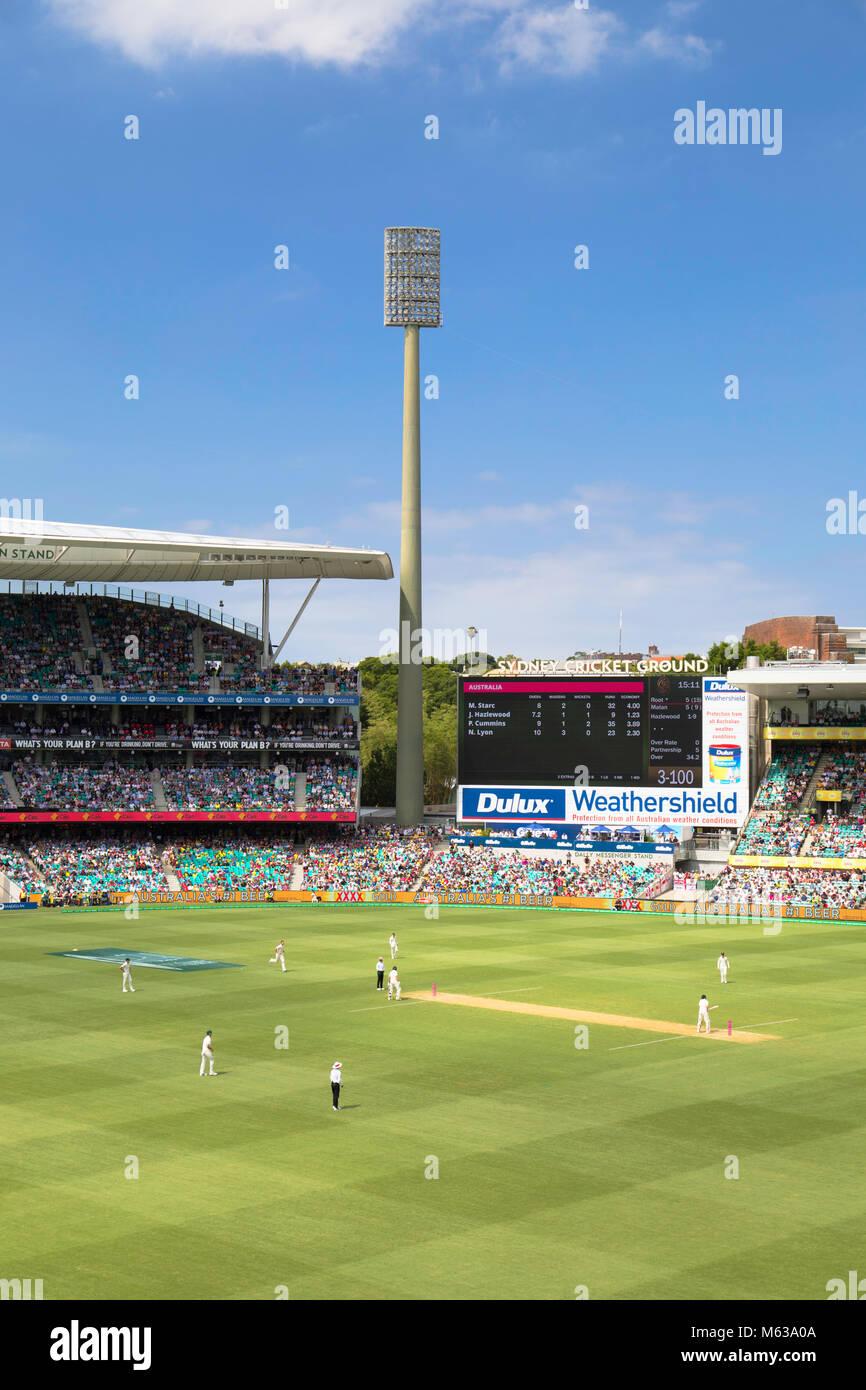 Test cricket match at Sydney Cricket Ground, Sydney, New South Wales, Australia - Stock Image