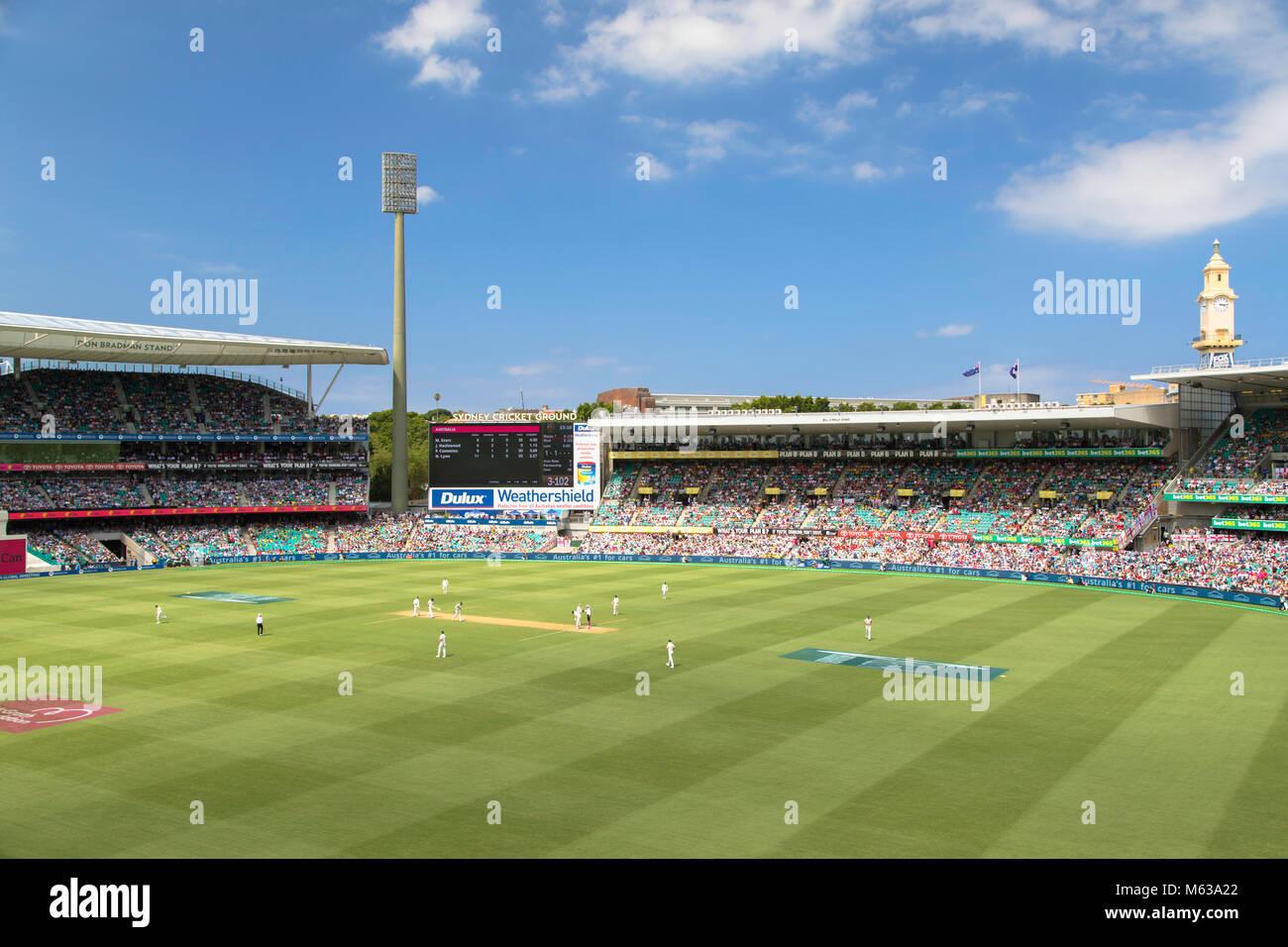 Test cricket match at Sydney Cricket Ground, Sydney, New South Wales, Australia Stock Photo