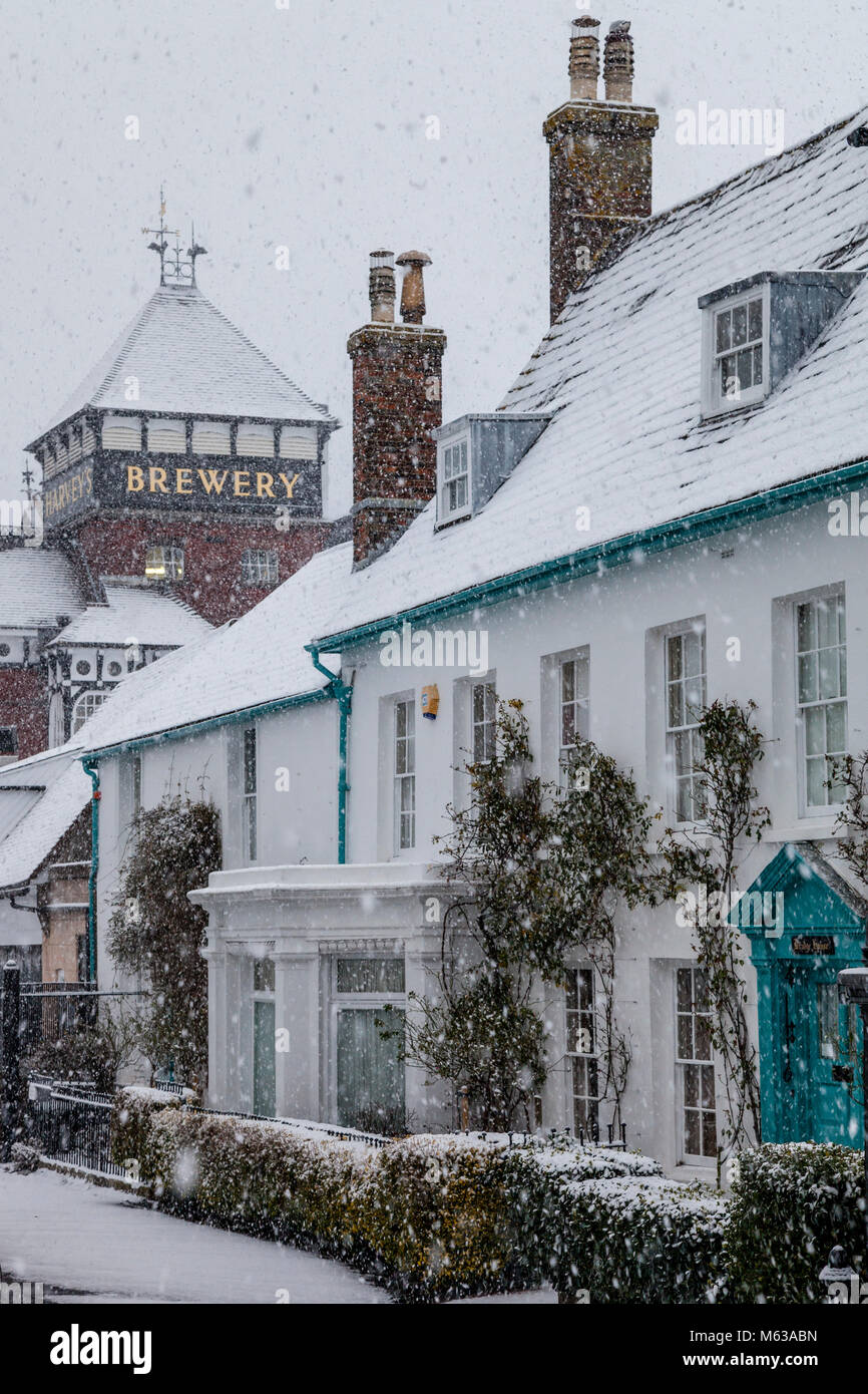 A wintery scene in the county town of Lewes, East Sussex, UK - Stock Image