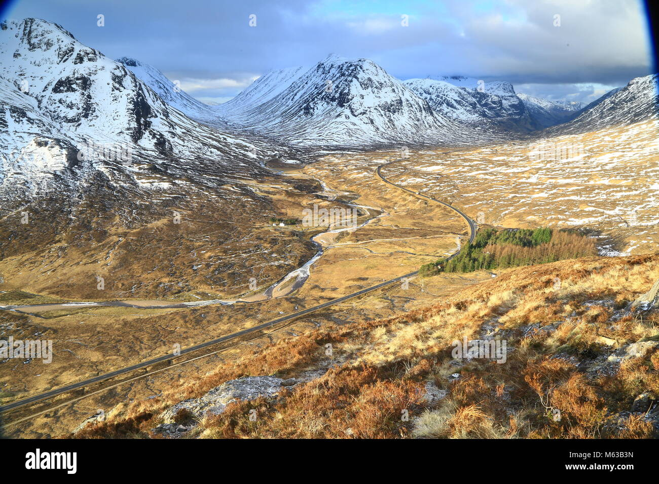 The wilds of Glencoe and the site of the massacre of 38 of the McDonald Clan by government forces, allegedly because - Stock Image