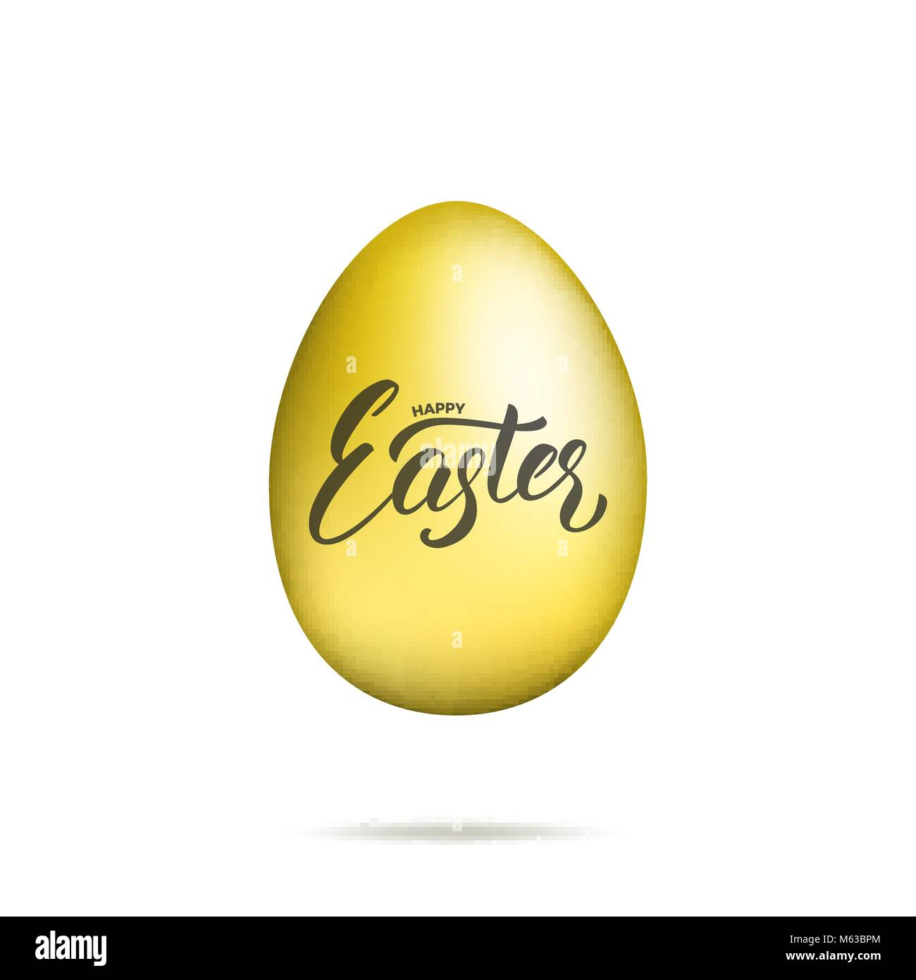 Easter. Gold egg with Happy Easter script lettering. Easter holiday design - Stock Image