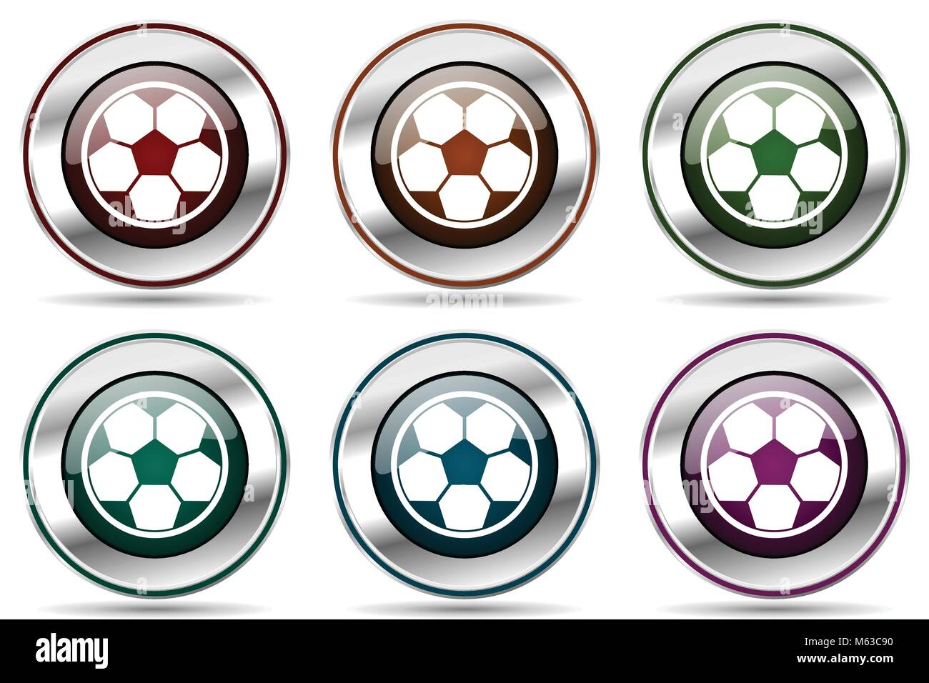 Soccer vector icon set. Silver metallic chrome border icons for web design and smartphone applications - Stock Vector