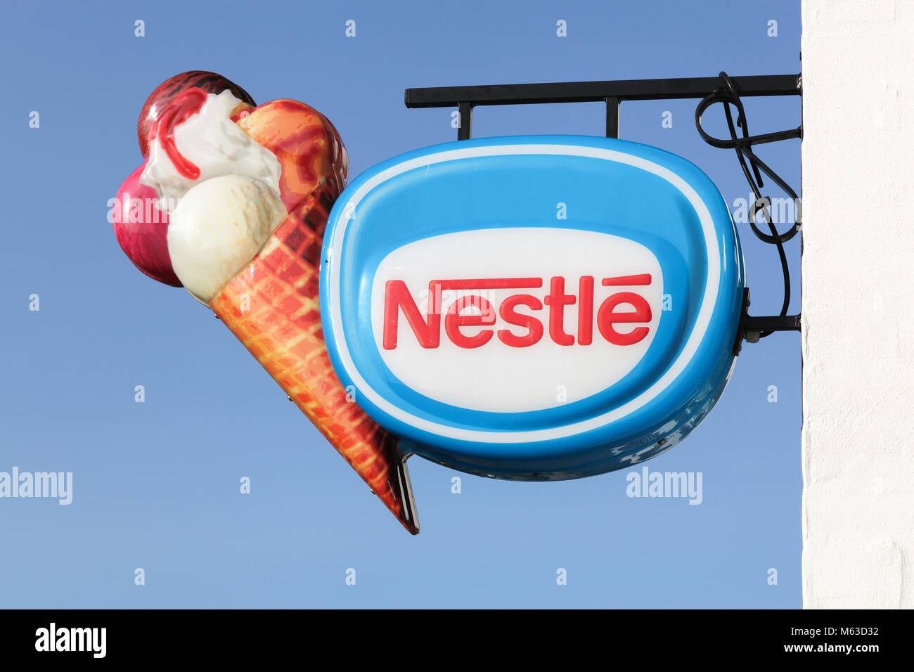 Logstor, Denmark - August 23, 2017: Nestle ice cream. Nestle is a Swiss transnational food and drink company headquartered - Stock Image