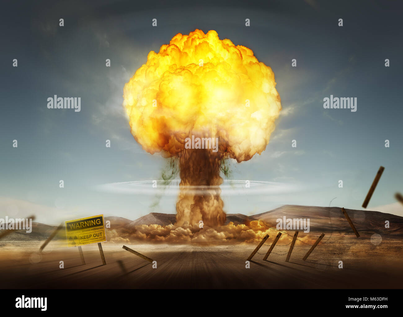 A nuclear explosion creating a mushroom cloud. Mixed media illustration. - Stock Image