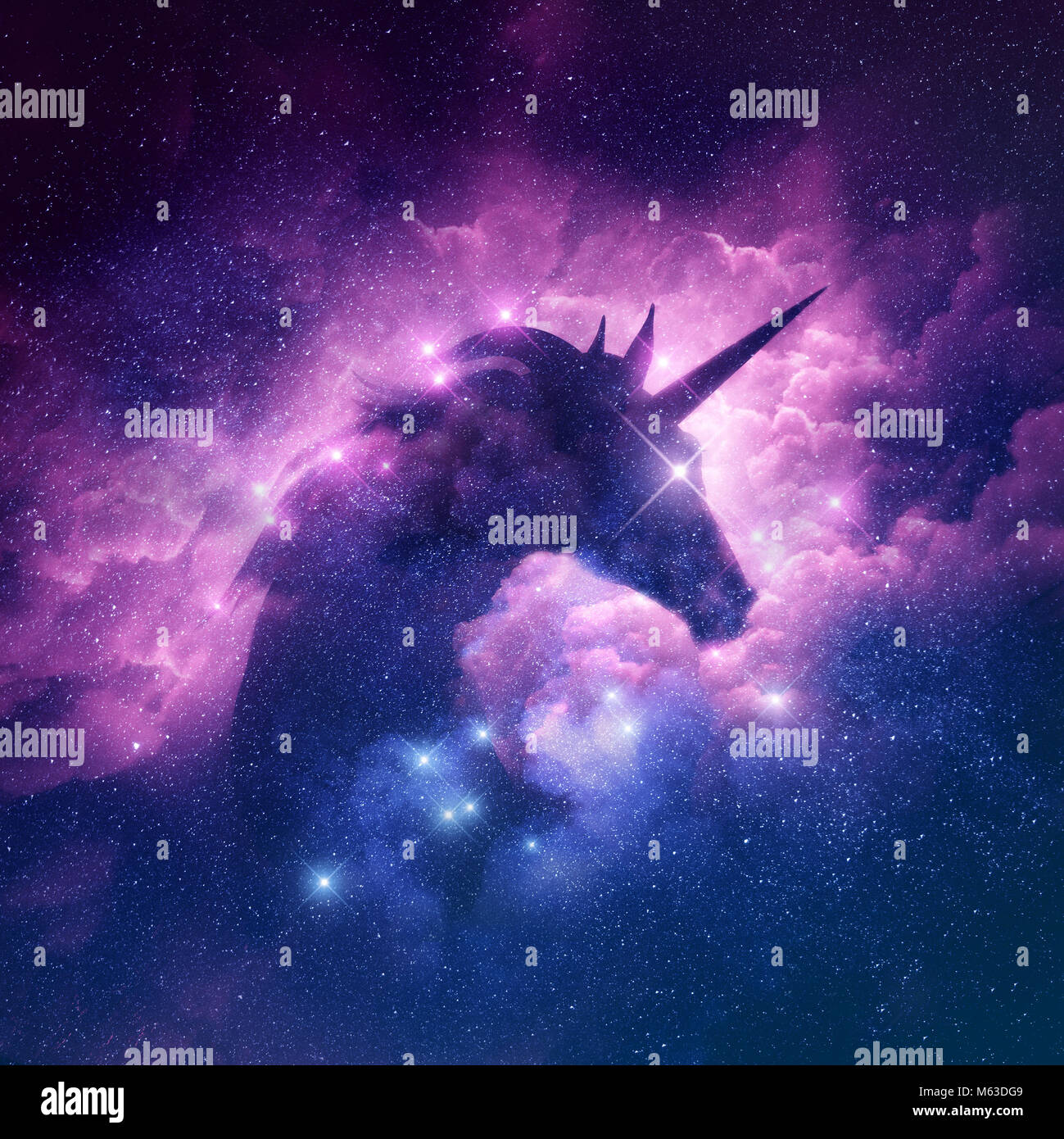 A unicorn silhouette in a galaxy nebula cloud. Raster illustration. - Stock Image