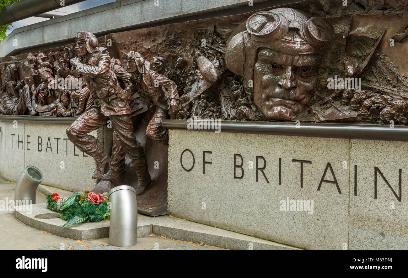 The Battle of Britain memorial on the Victoria Embankment, London. - Stock Image