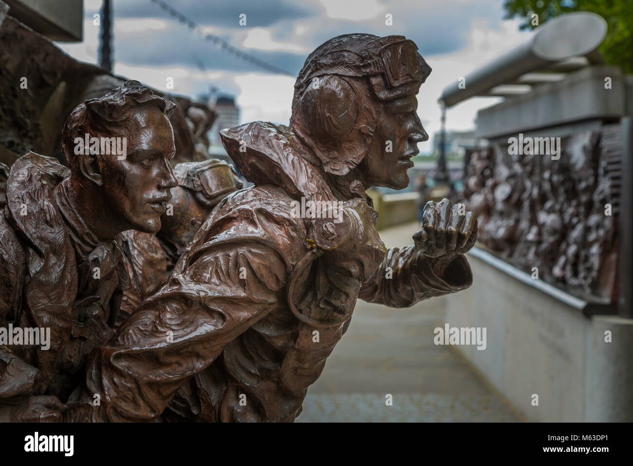 Part of the Battle of Britain memorial in London designed by Paul Day. - Stock Image