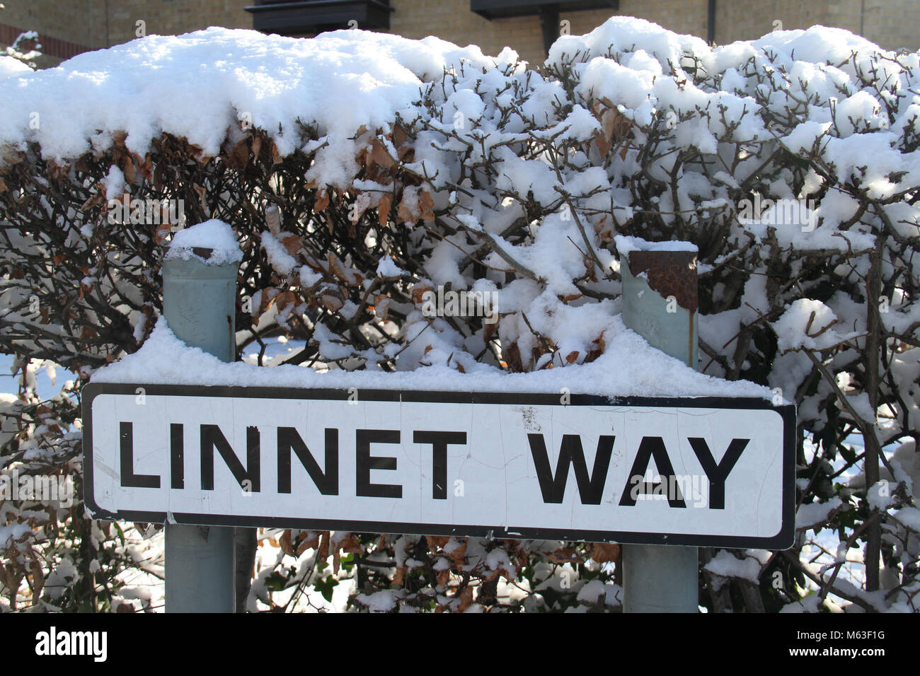 Purfleet, UK - February 28: A snow-covered street sign in Purfleet. Motorist and pedestrians commute on 28 February - Stock Image