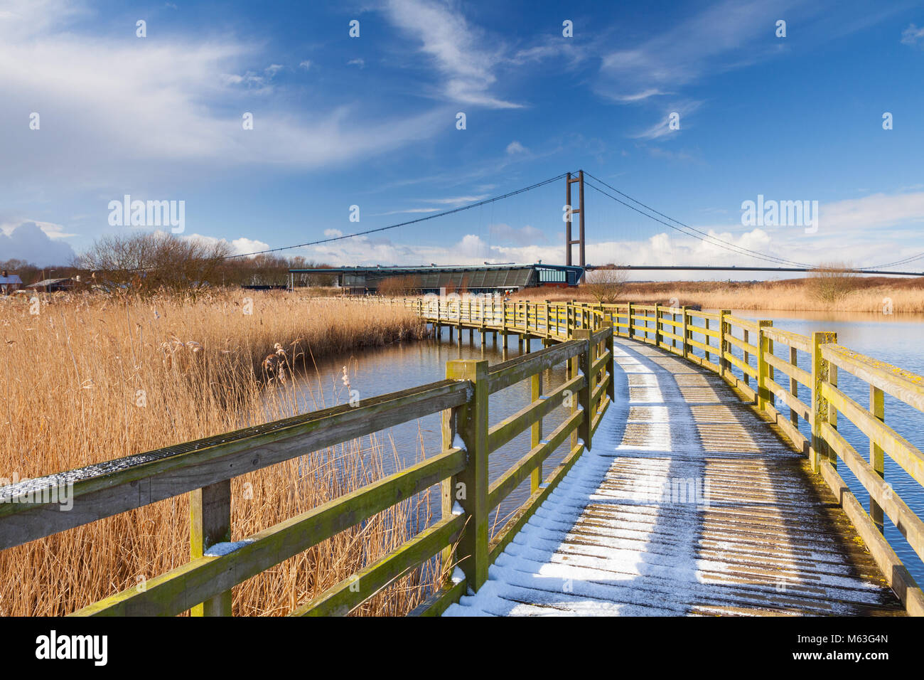 Humber, North Lincolnshire. 27th Feb, 2018. UK Weather: A light covering of snow at the Water's Edge Country - Stock Image