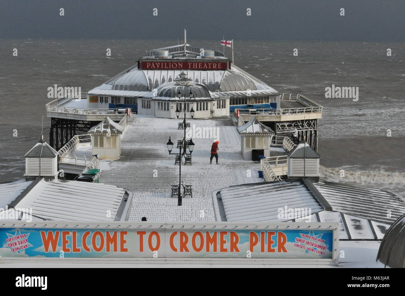 Cromer pier during the Beast from the East, Feb 28th 2018, Norfolk UK - Stock Image