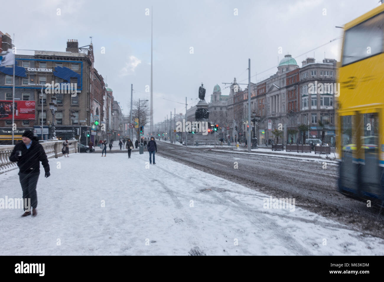 Snow in Dublin City, Winter ' Beast from the east'  in Ireland 2018 - Stock Image