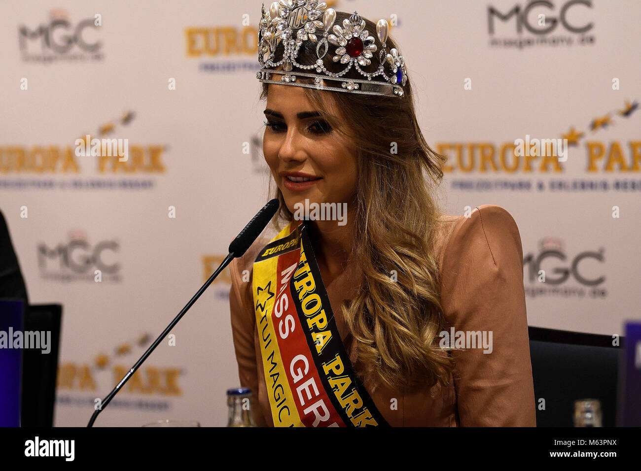February 25, 2018 - The newly elected Miss Germany, Anahita Rehbein, delivers a press conference to media representatives - Stock Image