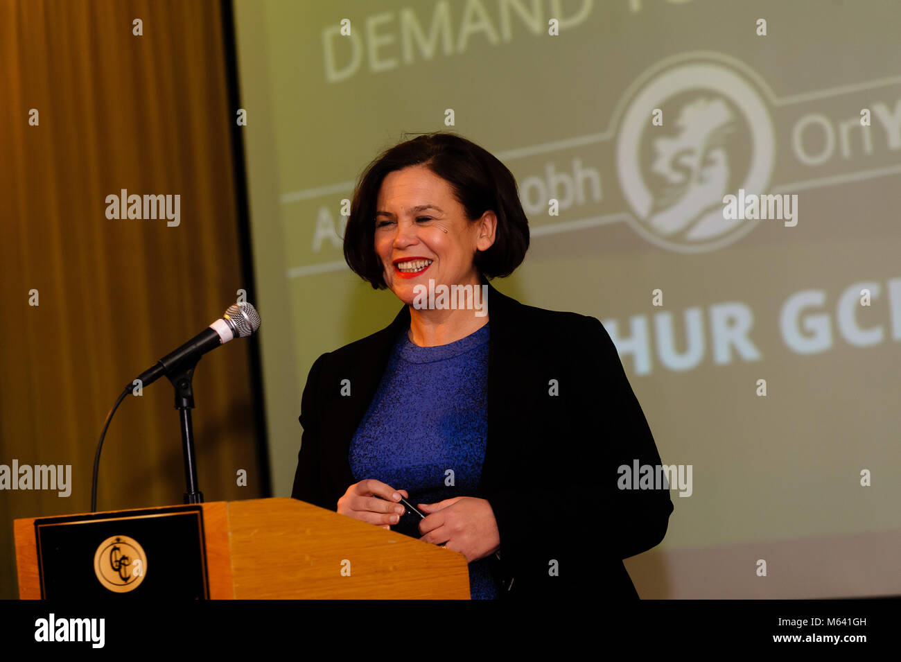 County Armagh, Northern Ireland. 27th Feb, 2018. Mary Lou McDonald, Sinn Fein President speaking at a public meeting - Stock Image