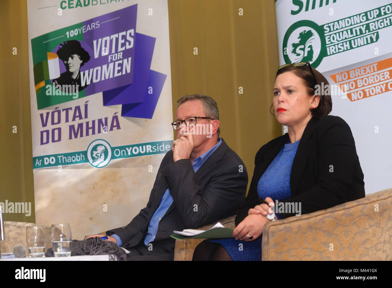 County Armagh, Northern Ireland. 27th Feb, 2018. Mary Lou McDonald, Sinn Fein President, right, with Conor Murphy - Stock Image