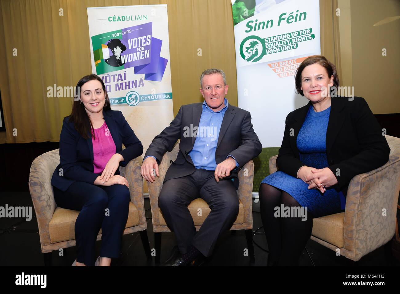 County Armagh, Northern Ireland. 27th Feb, 2018. Megan Fearon MLA, Conor Murphy MLA and Mary Lou McDonald, Sinn - Stock Image