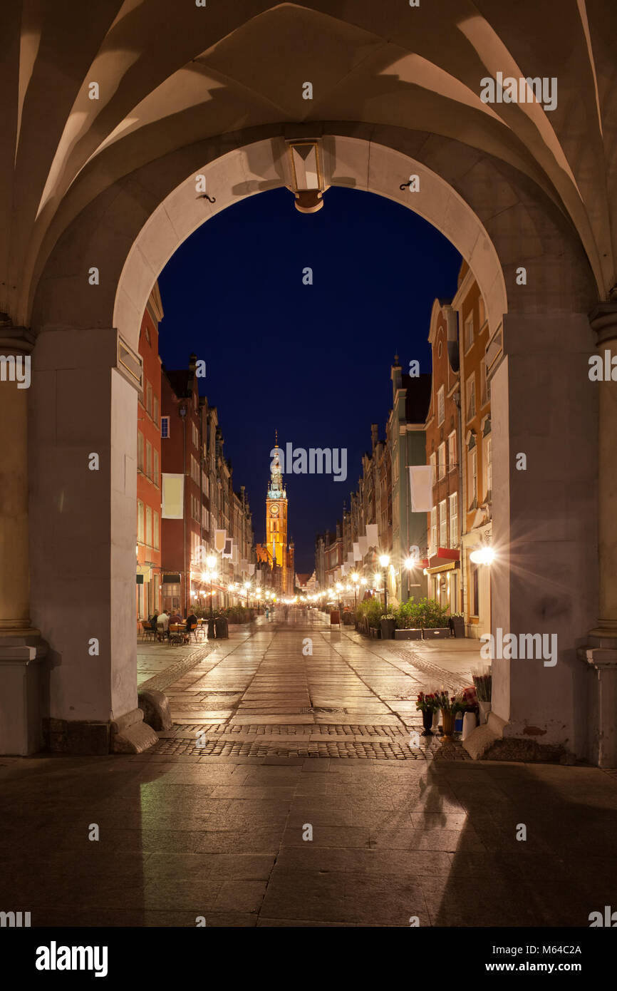 Old Town of Gdansk city at night, view from the Golden Gate to Long Lane, Poland, Europe - Stock Image