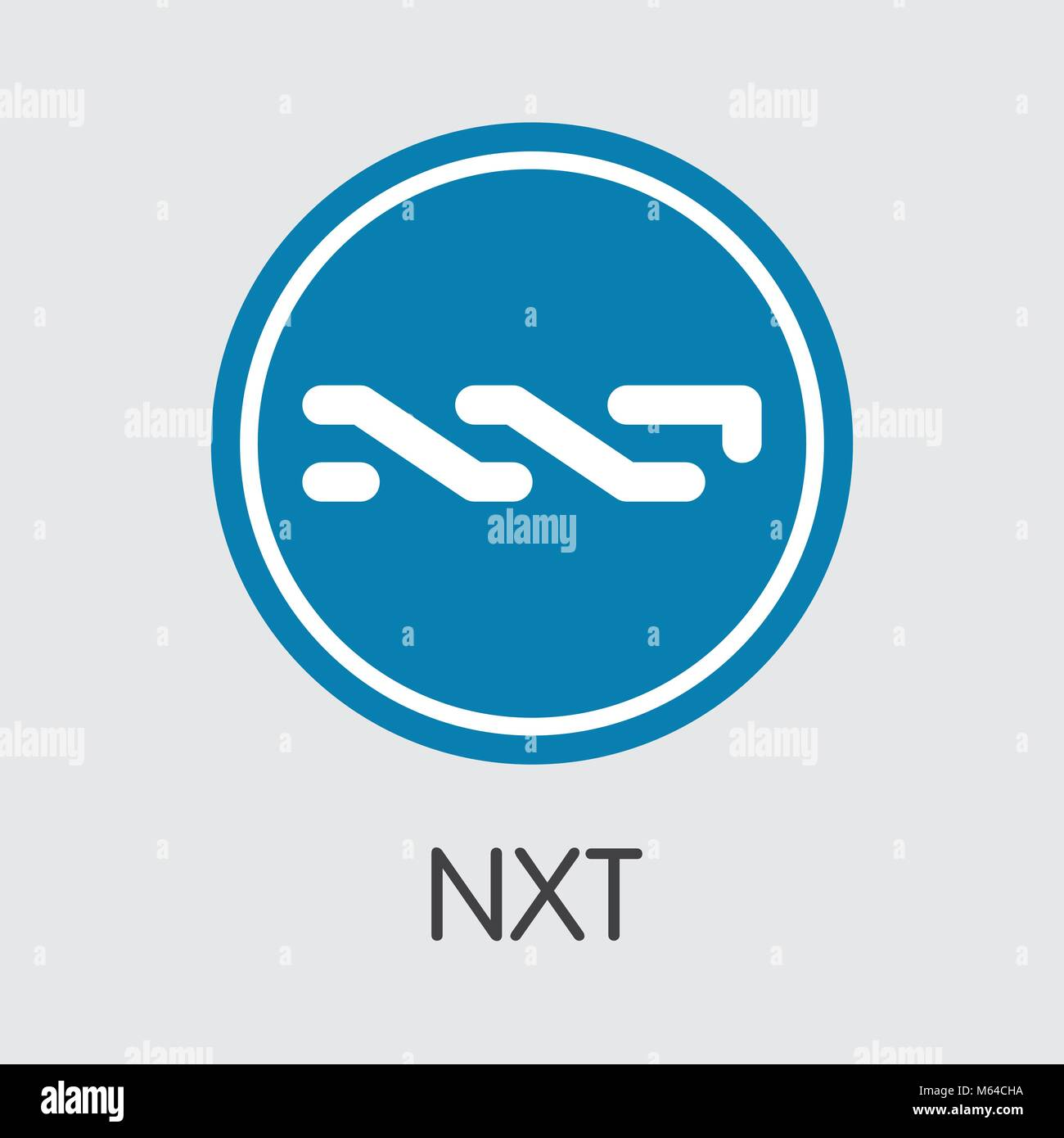 Nxt Virtual Currency - Vector Coin Illustration. - Stock Vector