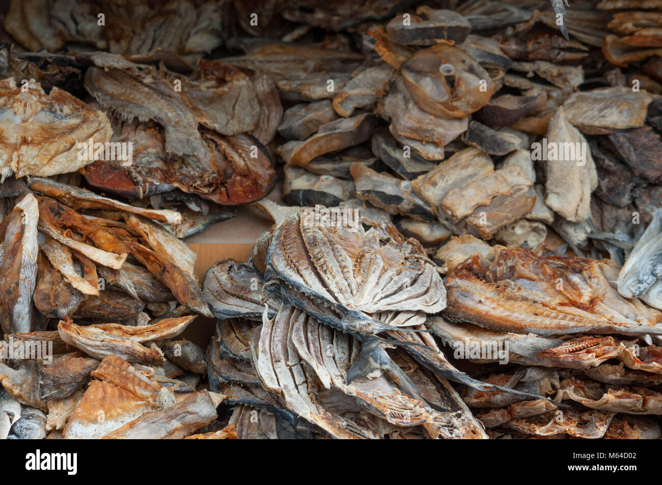 Dried fish market, asian salted fish - Stock Image