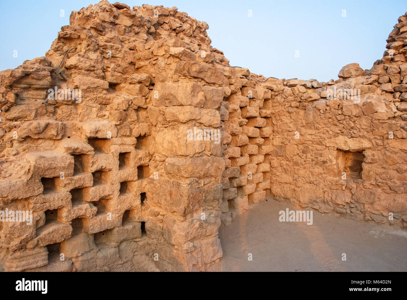 Horizonal picture of the ancient ruins on the top of plateau in Massada, Israel - Stock Image