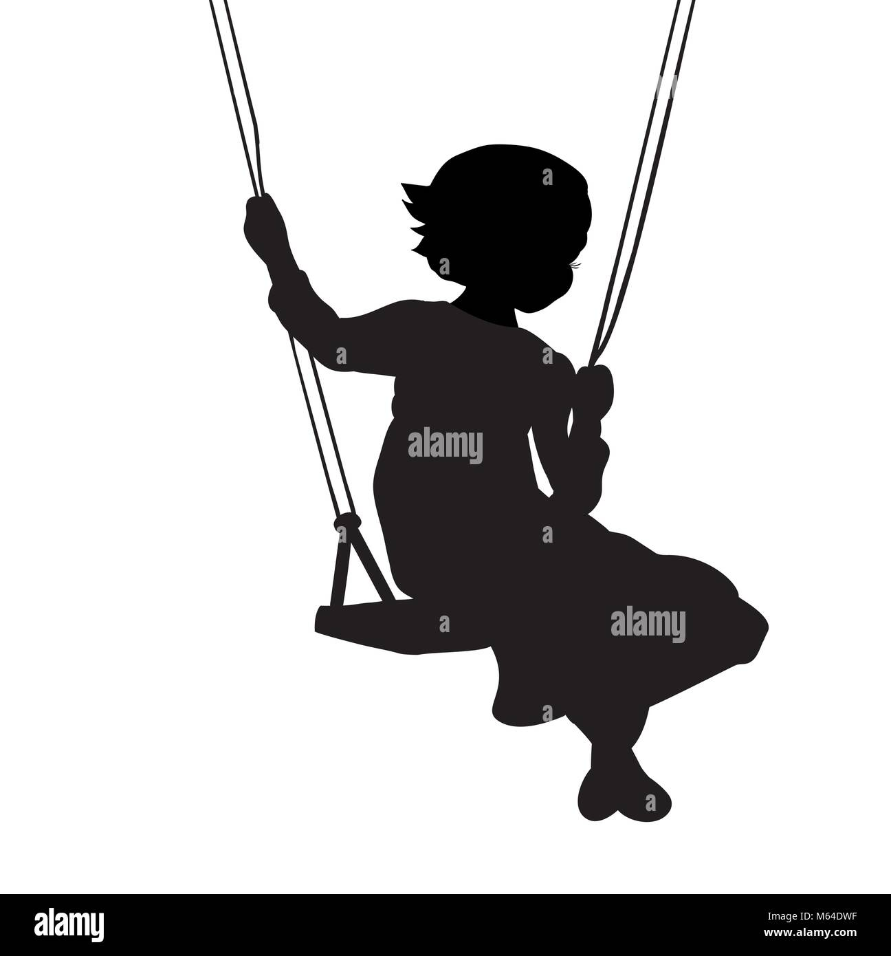 Silhouette girl play swinging swing - Stock Vector