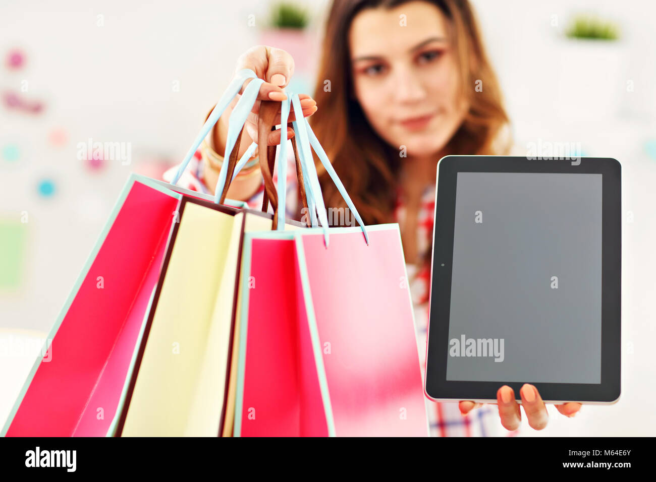 Attractive woman buying easter gifts online stock photo 175890595 attractive woman buying easter gifts online negle Images