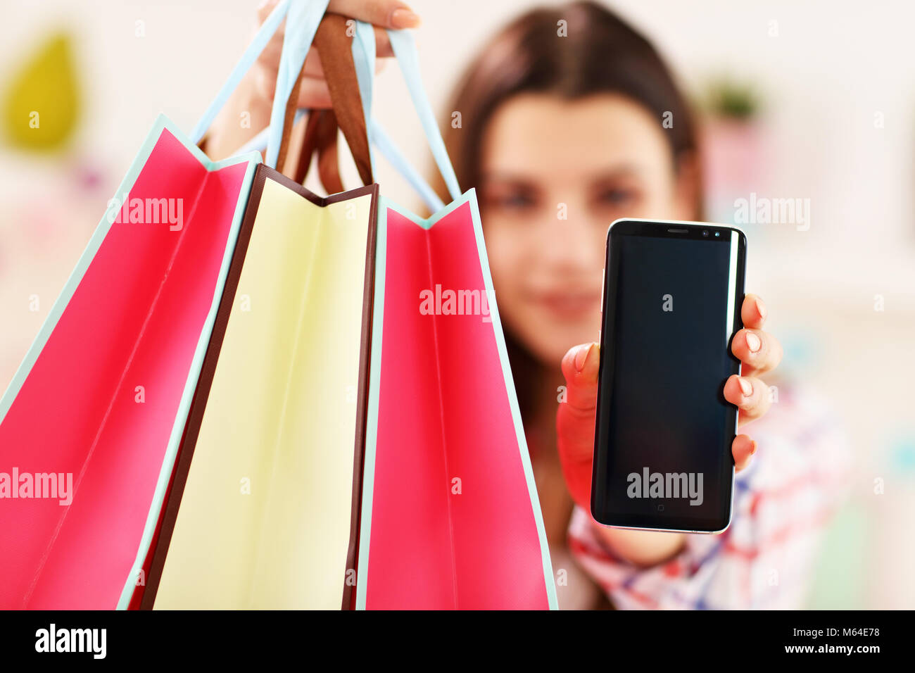 Attractive woman buying easter gifts online stock photo 175890604 attractive woman buying easter gifts online negle Images