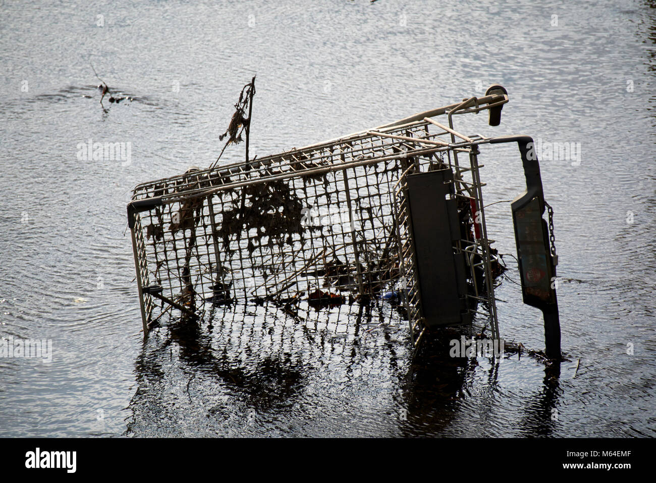 shopping trolley dumped in a river in the uk Stock Photo