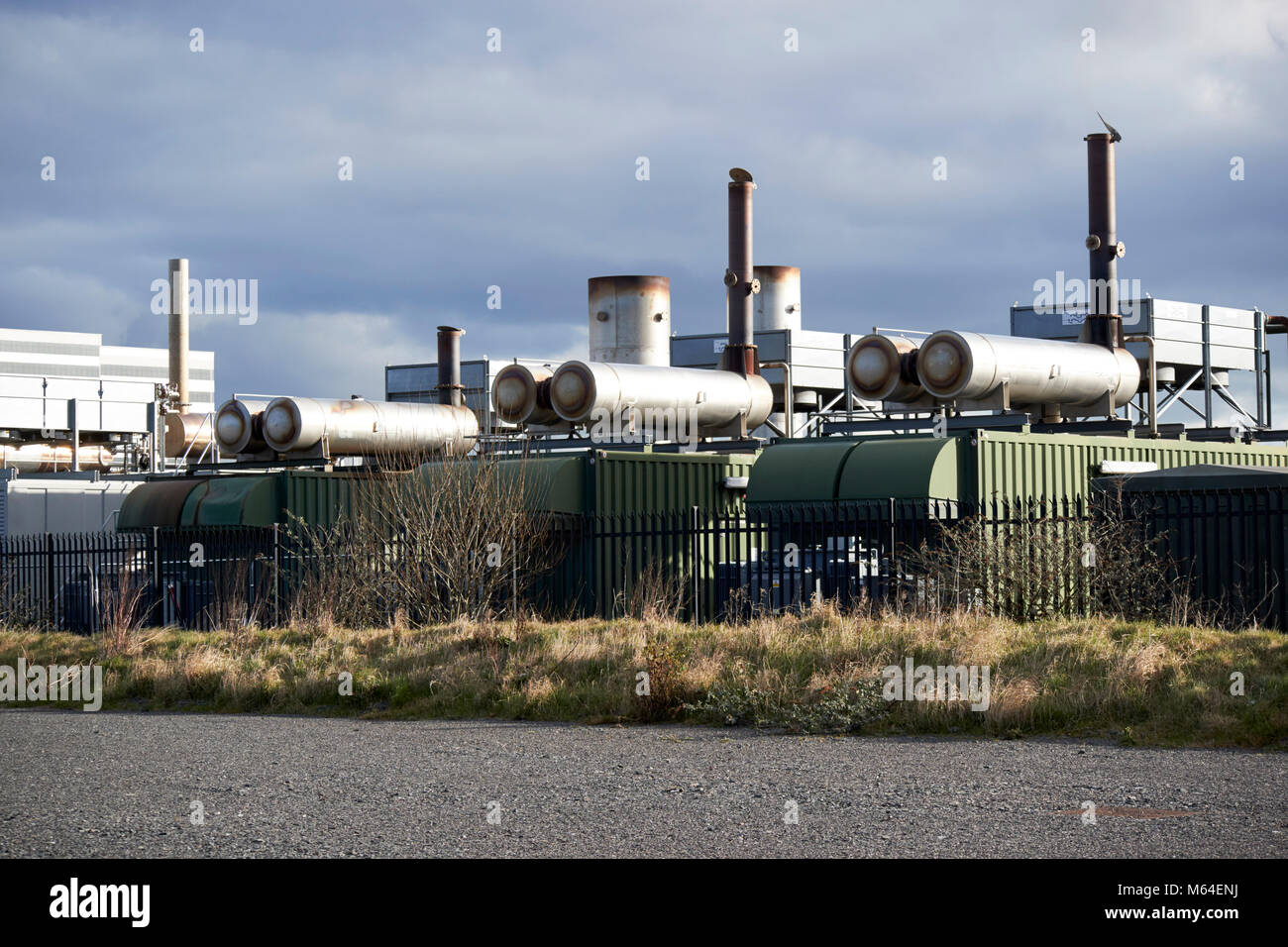 methane landfill gas power station at giants park site on former landfill on reclaimed land north foreshore belfast - Stock Image