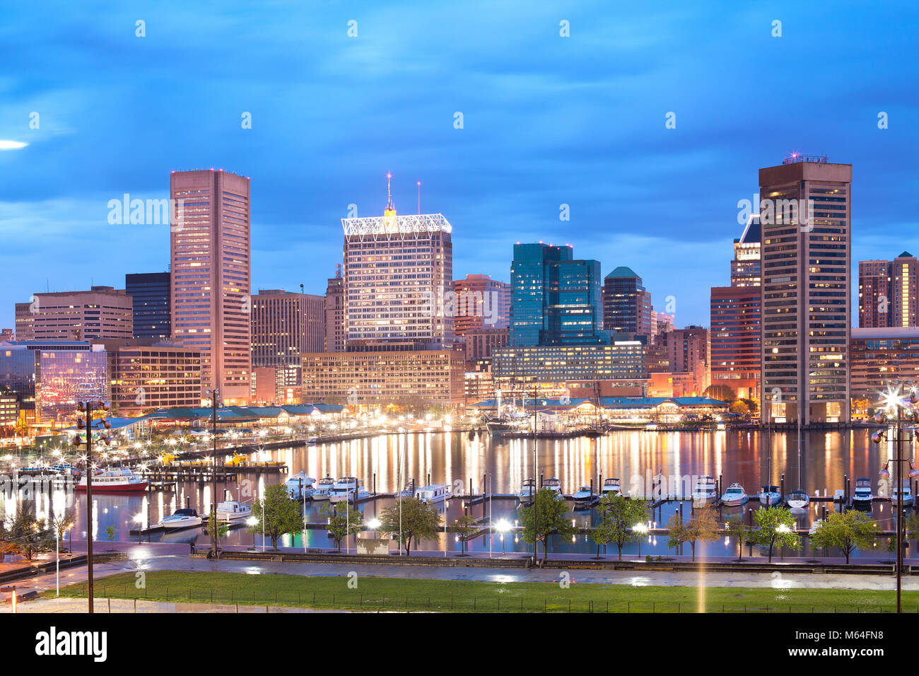 Downtown city skyline and Inner Harbor, Baltimore, Maryland, USA - Stock Image