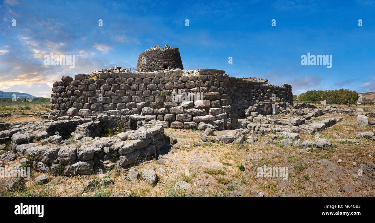 Picture and image of the exterior walls of the prehistoric magalith ruins of Santu Antine Nuraghe tower and nuragic - Stock Image