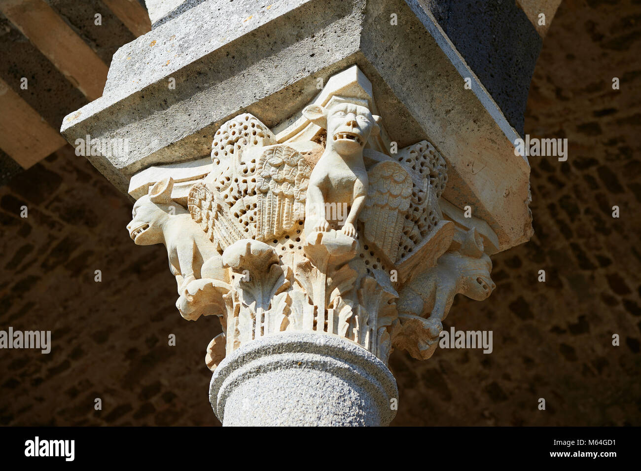 Picture and image of the Tuscan Romanesque Pisan style basilica of Santissima Trinita di Saccargia, historicated Stock Photo