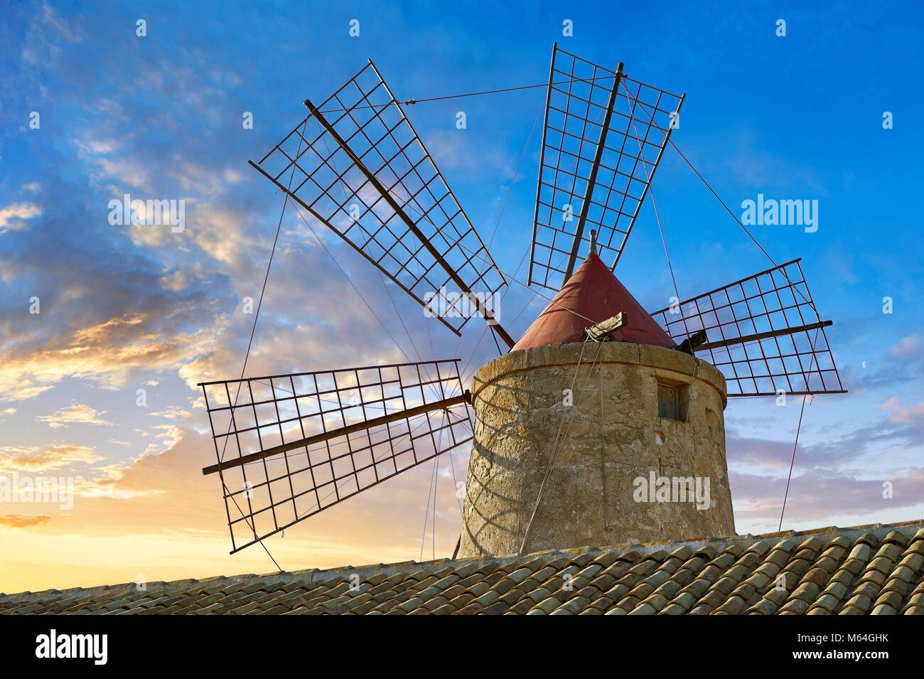 Pictures & images of Nubia Salt works Museum and Nubia wind mill,  World Wildlife reserve of Saline di Trapani - Stock Image
