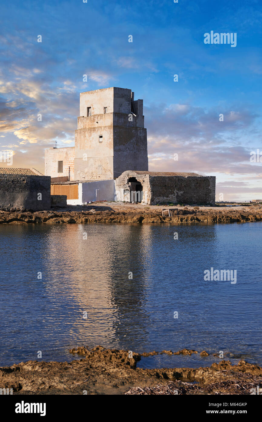 Pictures and images of the Torre San Teodoro (St Teodoro Tower) defensive fortification at the entrance to the Saline - Stock Image