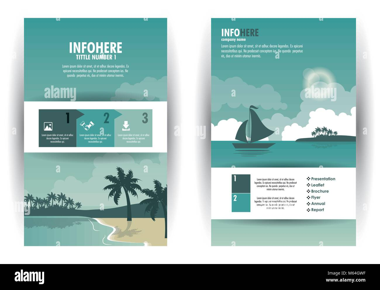 Beach and travel brochure infographic - Stock Image