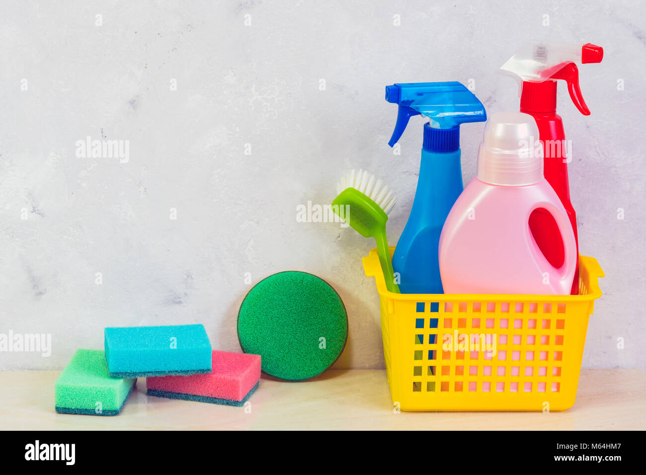 A cleaning kit with tools and products at home. Day of cleanliness. - Stock Image