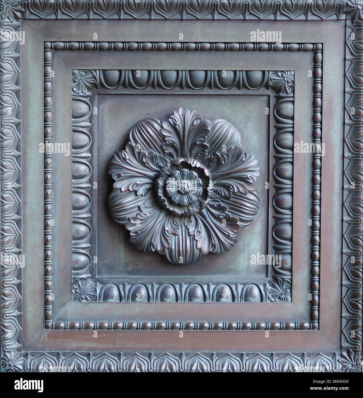 Ornate vintage bronze door panel. Floral design bronze door insert ...