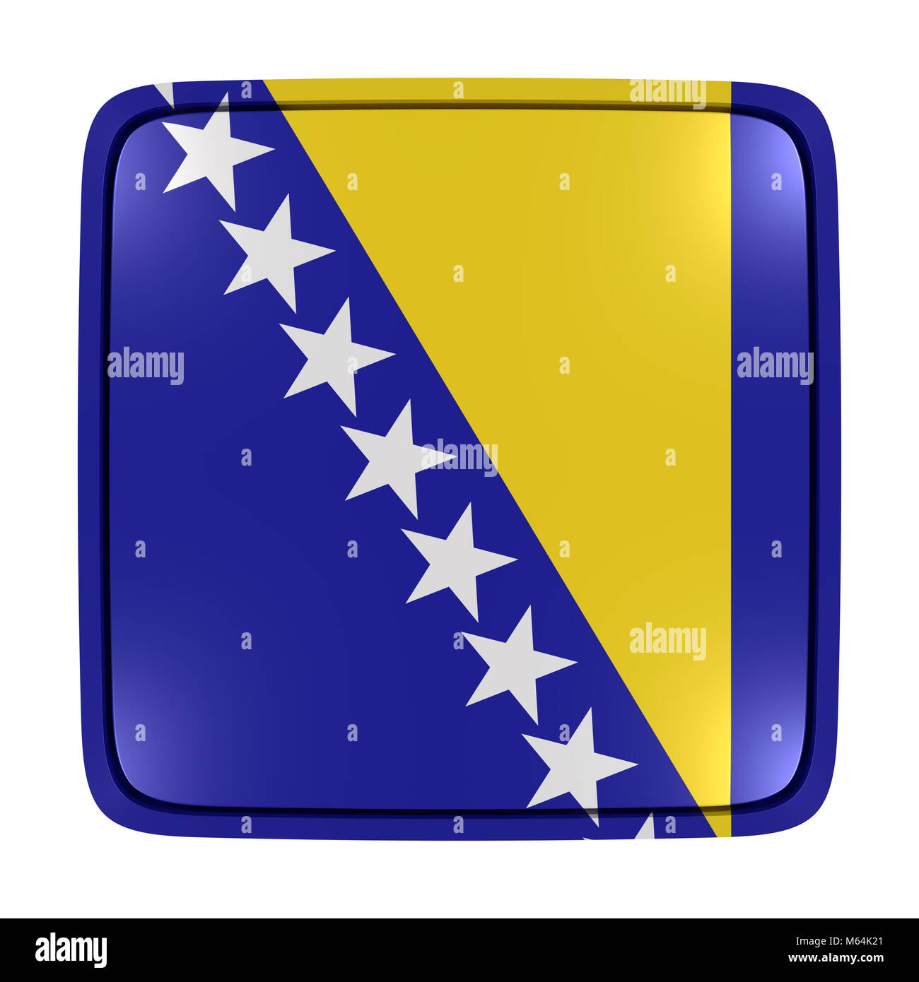 3d rendering of a Bosnia and Herzegovina flag icon. Isolated on white background. - Stock Image