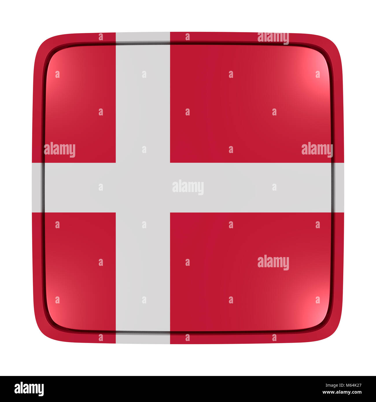 3d rendering of a Denmark flag icon. Isolated on white background. Stock Photo