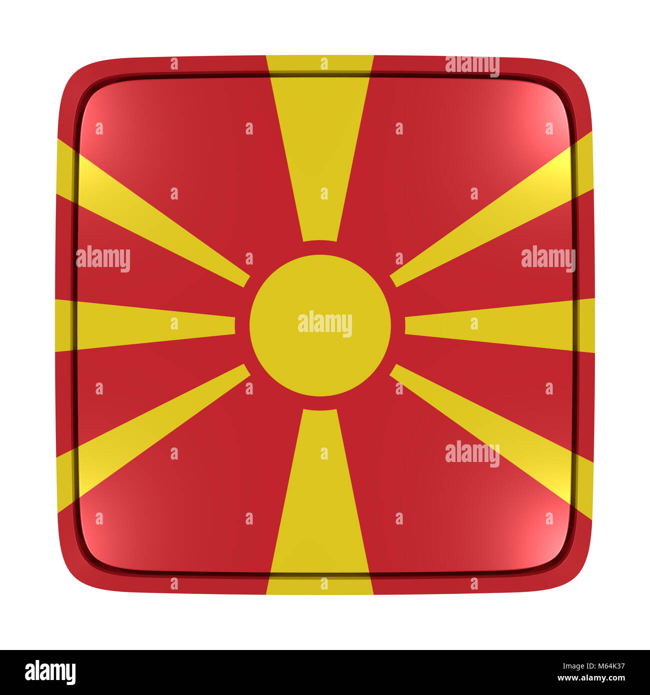 3d rendering of a Macedonia flag icon. Isolated on white background. - Stock Image