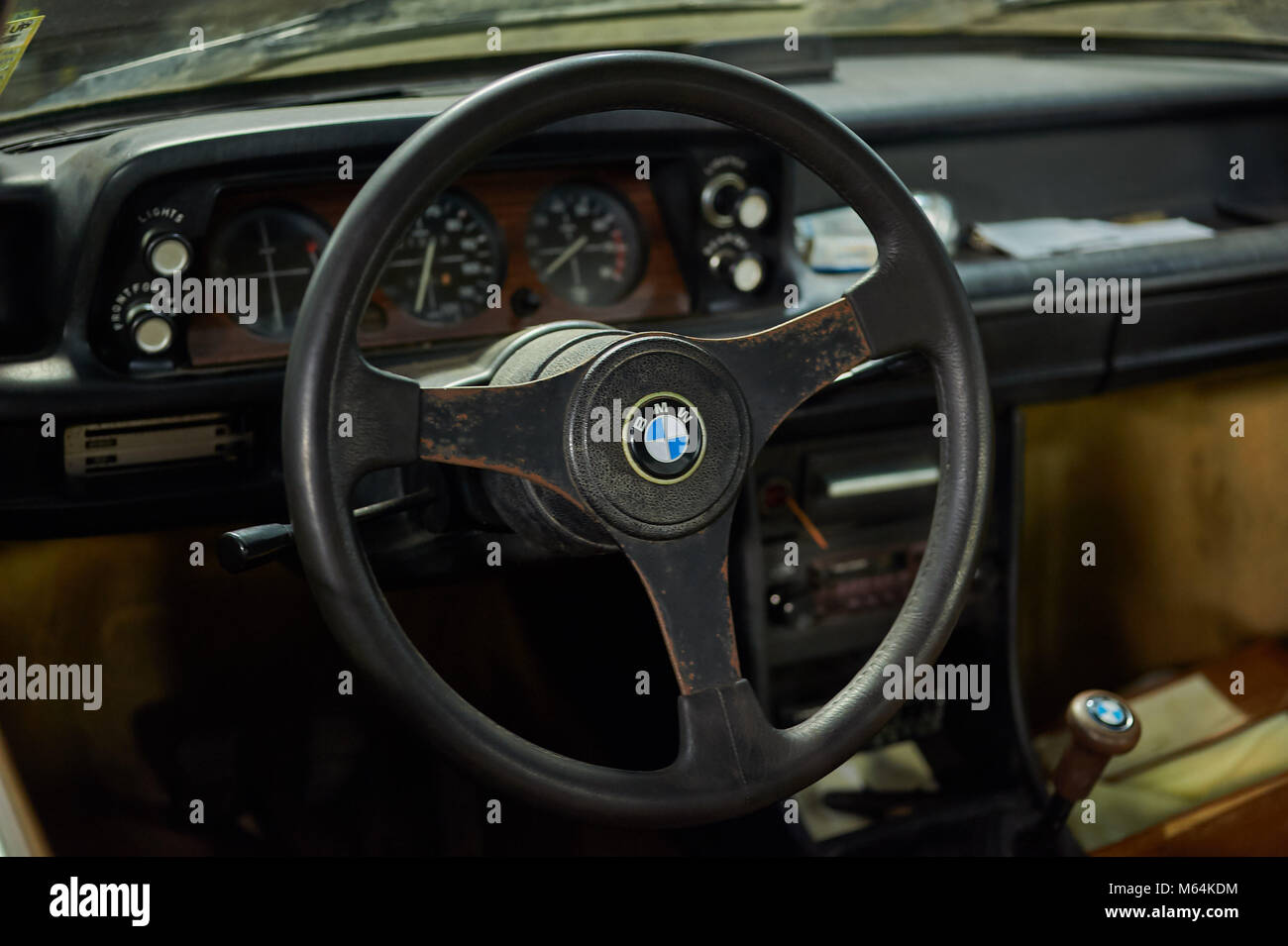 Vintage Bmw Steering Wheel Stock Photo Alamy
