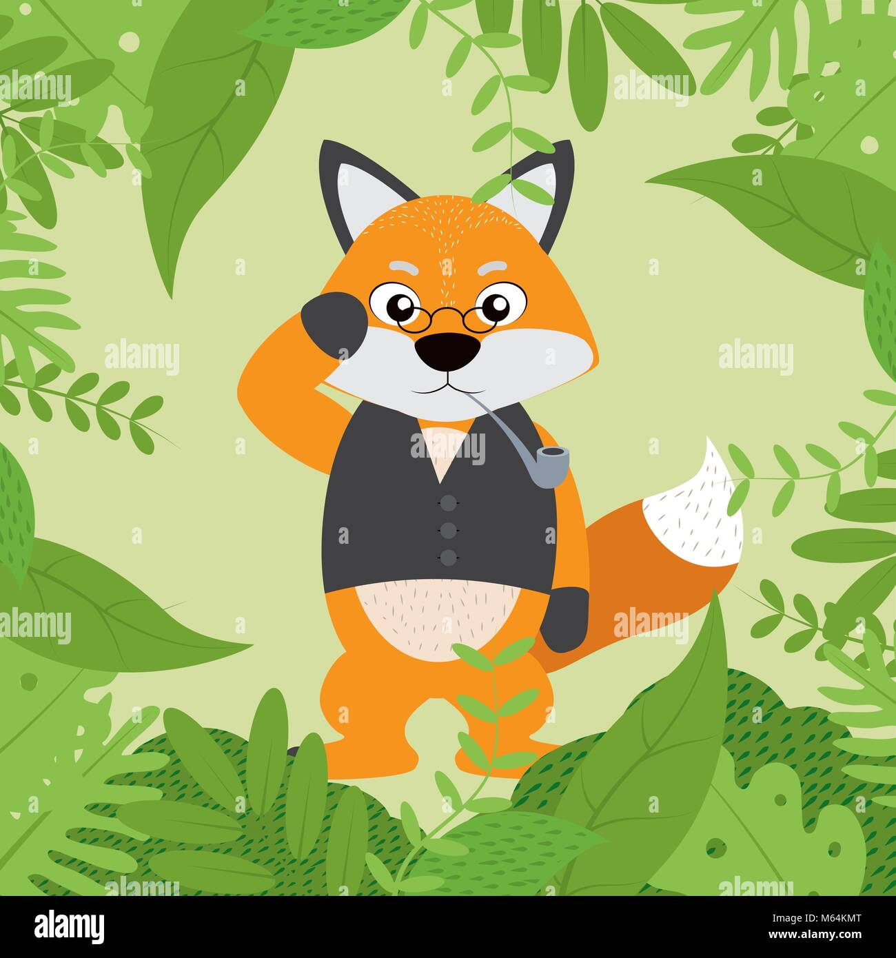 Fox with elegant clothes - Stock Vector