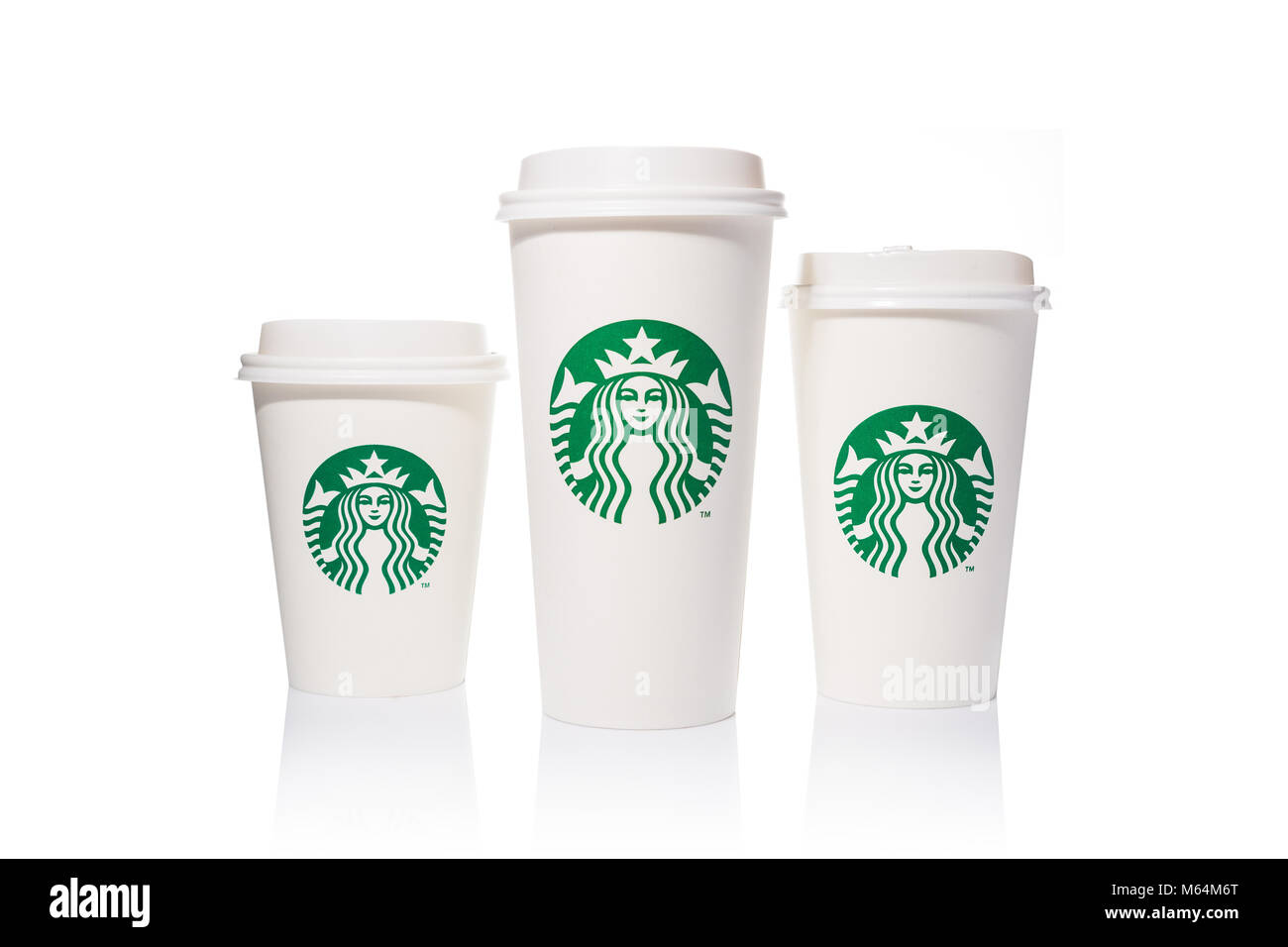 White Paper Starbucks Coffee Cups In 3 Sizes On White