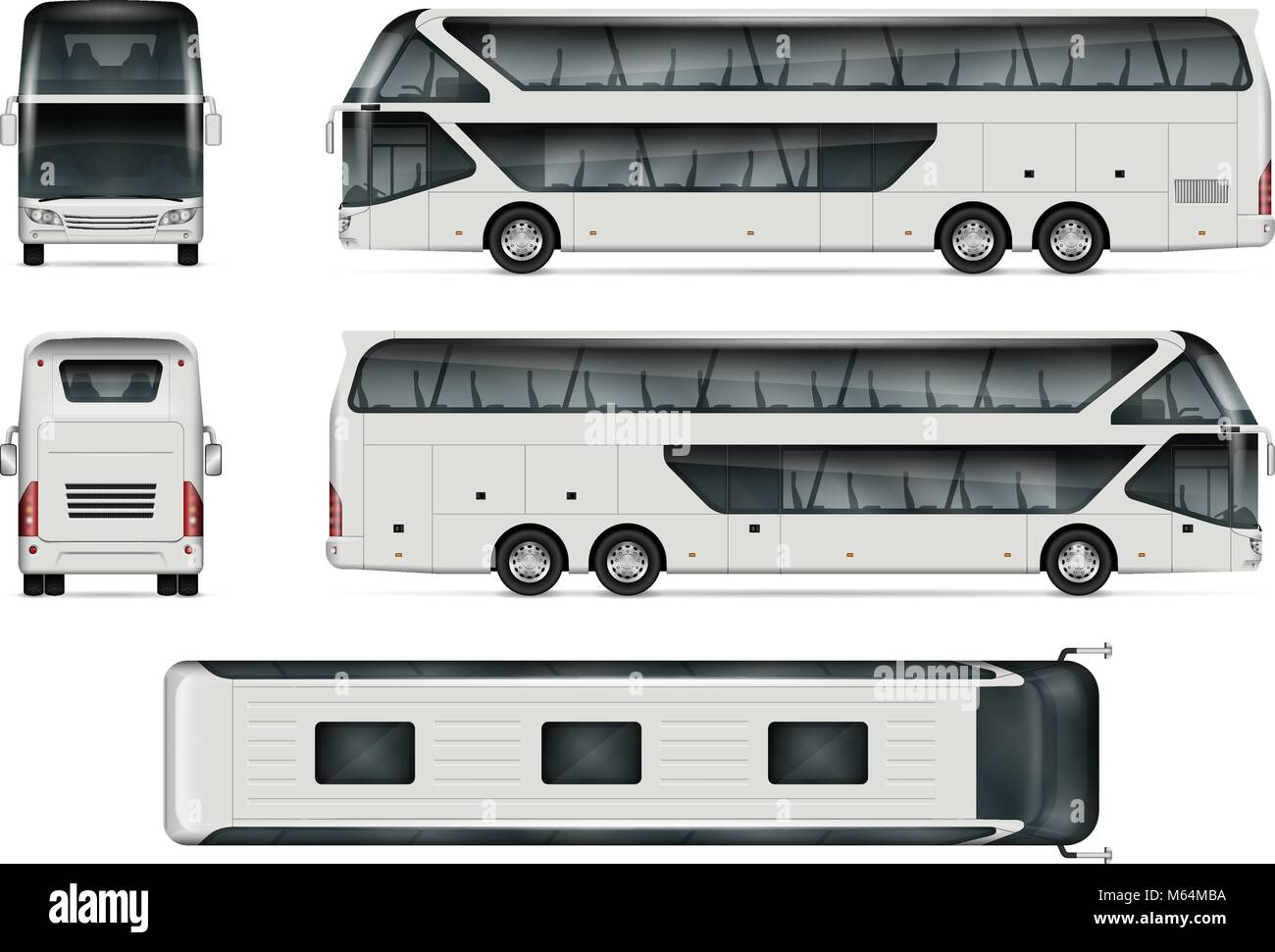Bus Vector Mock Up Isolated Template Of Tour Coach On White Stock