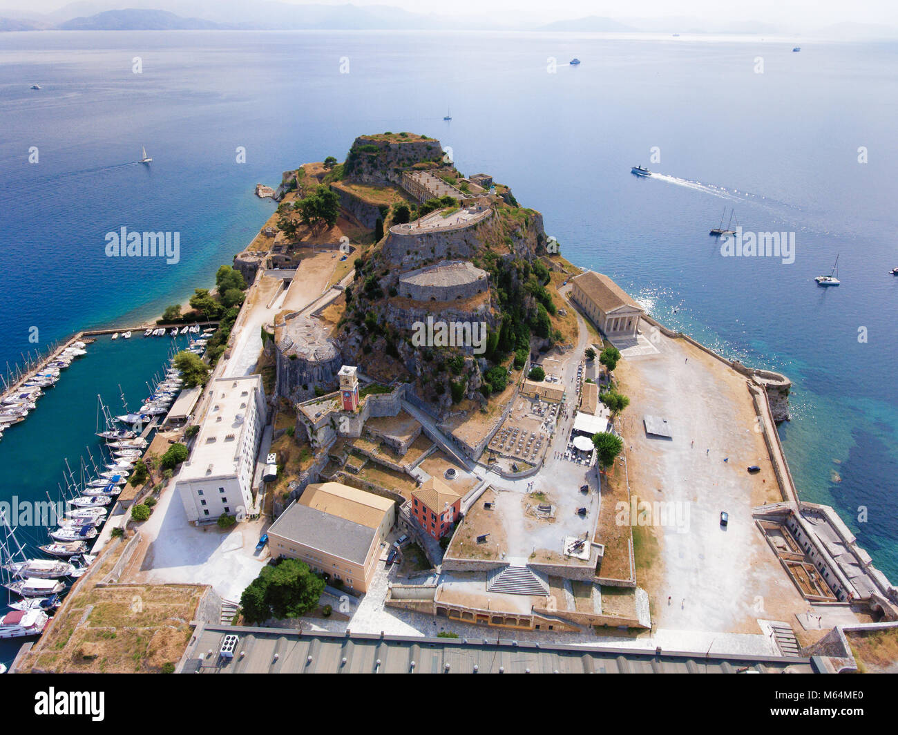 Corfu old fortress aerial view. The old venetian fortress near the capital of Kerkyra Island, now an important tourist Stock Photo