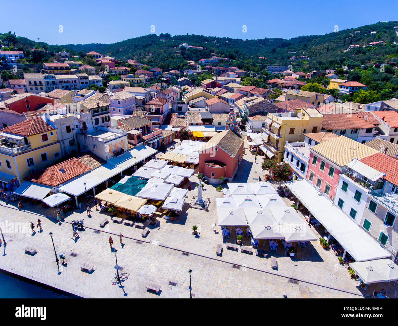 Gaios, capital city of Paxos Island near Corfu, aerial view. Important tourist attraction in the Ionian islands, Stock Photo