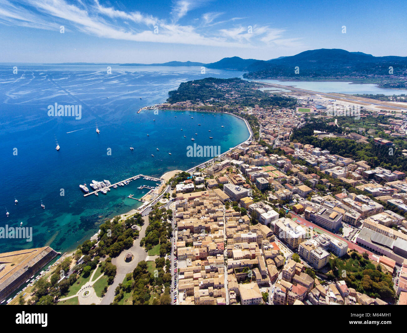 Corfu town from above. Old capital of the island Kerkyra, Greece, Europe. Mediteraneean architecture. Stock Photo