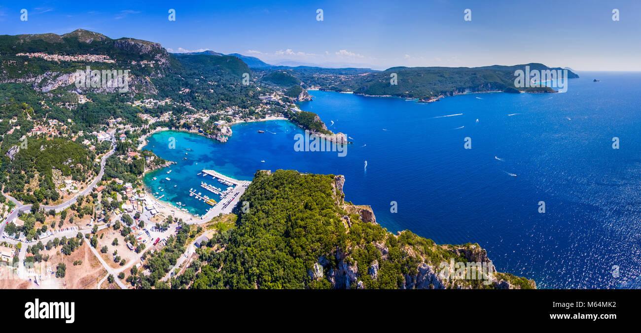 Panoramic view of Paleokastrita bay, Corfu, Kerkyra, Greece. Aerial view from a drone. - Stock Image